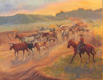 Cattle Drive by  Oklahoma Lady Artists Oil ~ 22 x 28