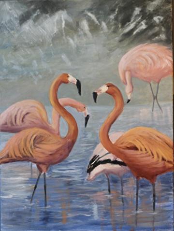 flamingo dance by  Oklahoma Lady Artists Oil ~ 24 x 18