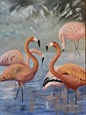flamingo dance by  Oklahoma Lady Artists Oil ~ 24 x 18