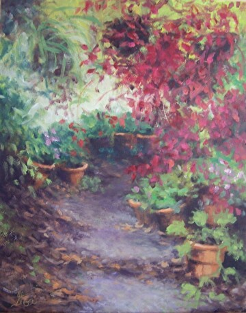 Garden Path by  Oklahoma Lady Artists Oil ~ 14 x 11