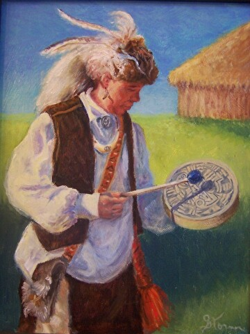 Chickasaw Drummer by  Oklahoma Lady Artists Oil ~ 14 x 11