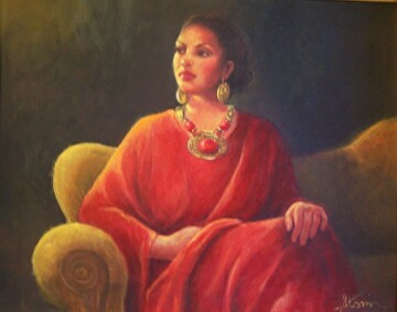 Woman In Red by  Oklahoma Lady Artists Oil ~ 16 x 20