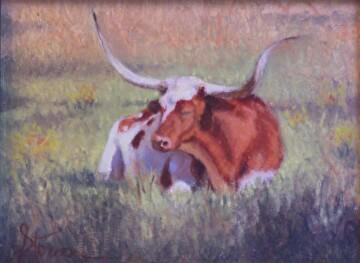 Bovine Bliss by  Oklahoma Lady Artists Oil ~ 6 x 8