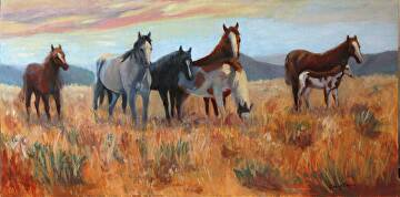"""The Wild Bunch by  Oklahoma Lady Artists Oil ~ 15"""" x 30"""