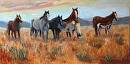 "The Wild Bunch by  Oklahoma Lady Artists Oil ~ 15"" x 30"
