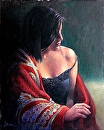 Red Scarf by  Oklahoma Lady Artists Oil ~  x