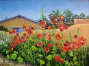 Hollyhock Explosion by  Oklahoma Lady Artists Acrylic ~ 16 x 20