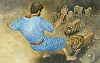 "Daniel Into Lion's Den by Robert Casilla Watercolor ~ 10.5"" x 16"""