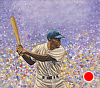 "Jackie Robinson at Bat by Robert Casilla Watercolor ~ 10"" x 11"""