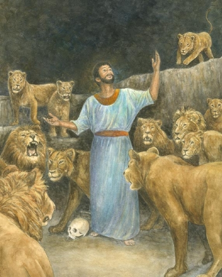 "Daniel and the Lions by Robert Casilla Watercolor ~ 11"" x 14"""