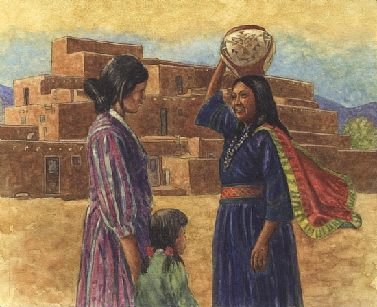 "Pueblo by Robert Casilla watercolor and pastel ~ 10"" x 11"""