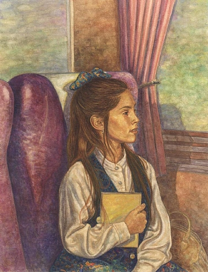 "Girl in Train by Robert Casilla watercolor and pastel ~ 13"" x 10"""