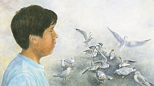 "Boy Watching Seagulls by Robert Casilla watercolor and pastel ~ 14"" x 19"""