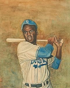 "JACKIE ROBINSON by Robert Casilla Watercolor ~ 15"" x 12"""