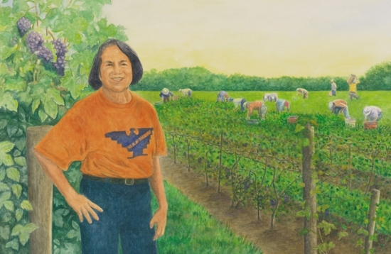 "Dolores by the Grape Field by Robert Casilla watercolor and pastel ~ 14"" x 20"""