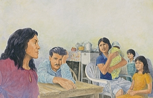 "Farmer Family by Robert Casilla watercolor and pastel ~ 14"" x 20"""