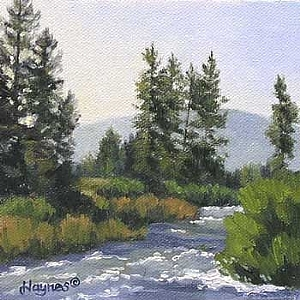 "Summer Morning by Sandra Haynes Oil ~ 5"" x 5"""
