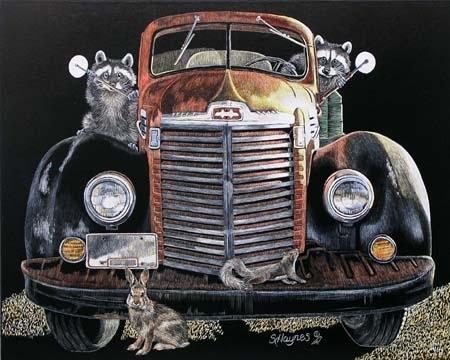 "The Wild Bunch by Sandra Haynes Scratchboard ~ 8"" x 10"""