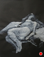 Reclining figure by Hilary Senhanli Acrylic ~ 55 x 37 cm