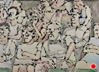 Tennis spectators by Hilary Senhanli Mixed media ~ 48 x 65 cm