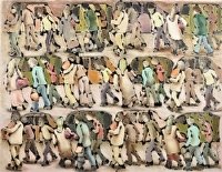 Patterned crowd by Hilary Senhanli Mixed media ~ 53 x 67 cm