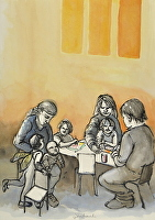 7. At the table by Hilary Senhanli Ink and water colour ~ 54 x 38 cm