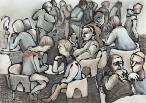Busy cafe scene by Hilary Senhanli Conte/pastel and acrylic paint ~ 42 x 59 cm