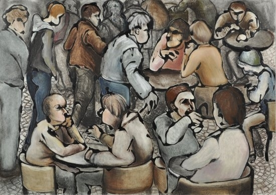 Caf� crowd by Hilary Senhanli Conte/pastel and acrylic paint ~ 42 x 59 cm