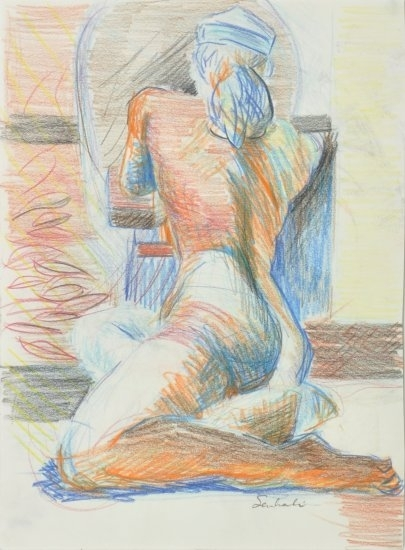 Blue model by Hilary Senhanli Pencil ~ 28 x 20 cm