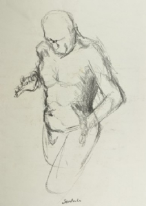 Man walking by Hilary Senhanli Charcoal ~ 60 x 45 cm