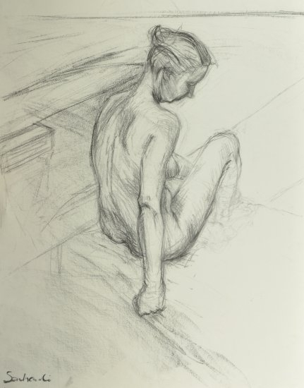28/7 am by Hilary Senhanli Charcoal ~ 75 x 55 cm
