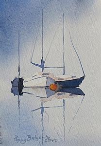"Sailboat Sketch III by Poppy Balser Watercolor ~ 7"" x 5"""