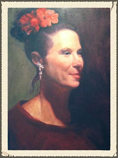 Portrait of a lady with red flower on her hair. - Oil