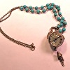 Antique Brass Chain/Turquoise Colored Bead Watch necklace