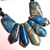 DETAIL: Blue Imperial Jasper and Onyx Fan Necklace with Earrings