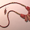 Red Imperial Jasper fan necklace with red jasper and picture jasper beads  Sterling clasp. W/earrings