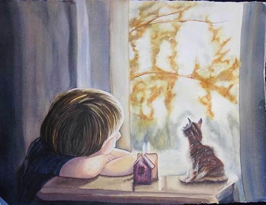Boy & Kitty - Watercolor