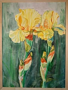 Irises II by Teresa Beyer Watercolor ~ 24 x 18