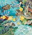 Cleaning  Station - Green Sea turtles and Tangs by carol J. Roberts