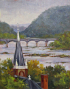 Where Jefferson Once Stood (Harpers Ferry, WV) by Claire Beadon Carnell Oil ~ 10 x 8