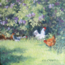 Shade Under The Lilacs by Claire Beadon Carnell Oil ~ 8 x 8