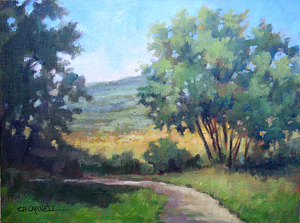 Summer at the Rose Farm by Claire Beadon Carnell Oil ~ 9 x 12