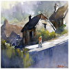 hilde - france by Thomas  W. Schaller Watercolor ~ 14 inches x 14 inches
