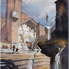 cathedral - toulouse by Thomas  W. Schaller Watercolor ~ 22 inches x 15 inches