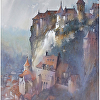 fading light-rocamadour by Thomas  W. Schaller Watercolor ~ 30 inches x 22 inches