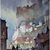 towers of rocamadour by Thomas  W. Schaller Watercolor ~ 30 inches x 22 inches