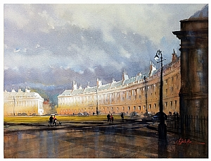 the royal crescent - bath, england by Thomas W. Schaller Watercolor ~ 22 inches x 30 inches