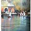 sailboat pond - central park by Thomas  W. Schaller Watercolor ~ 22 inches x 15 inches
