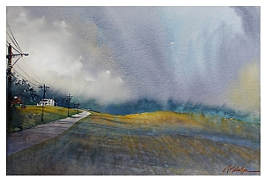 summer storm - portage county ohio by Thomas  W. Schaller Watercolor ~ 17 inches x 24 inches