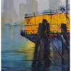 yellow barge by Thomas  W. Schaller Watercolor ~ 22 inches x 14 inches